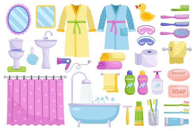 Elementos de dibujos animados de baño. higiene personal