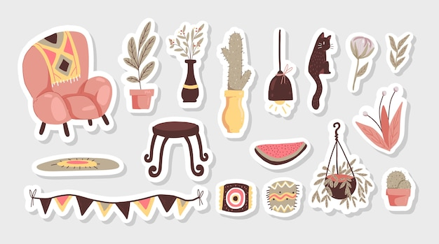 Elementos de dibujos animados de cadera escandinavos decoración interior set pegatinas plantas y decoración