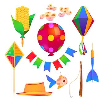 Elementos de dibujos animados de fiesta festa junina sombrero, cometa, guirnalda de banderas y caña de pescar con anzuelo y pez, globo, linterna de papel y dardos con palito de maíz, flores