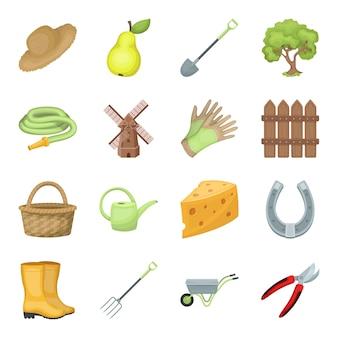 Elementos de dibujos animados de granja y jardinería en conjunto para el diseño.