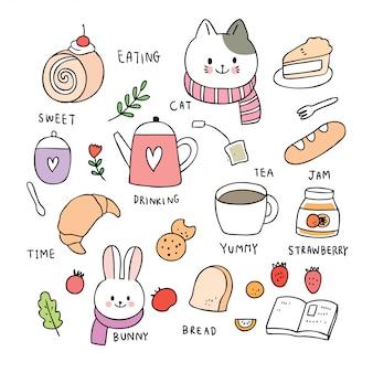 Elementos de dibujos animados lindo gato y conejo y dulce vector.