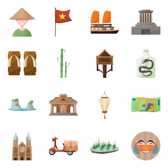 Elementos de dibujos animados de país vietnam. establecer elementos emblemáticos de la cultura del país de vietnam.