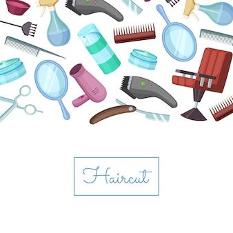 Elementos de dibujos animados peluquero barbero con lugar para texto