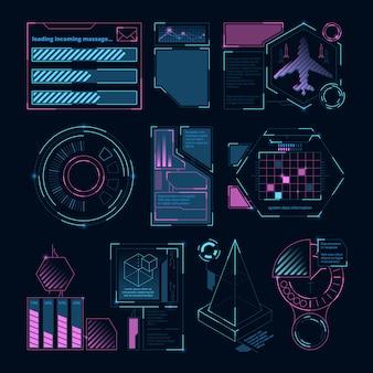 Elementos digitales futuristas para interfaz web.