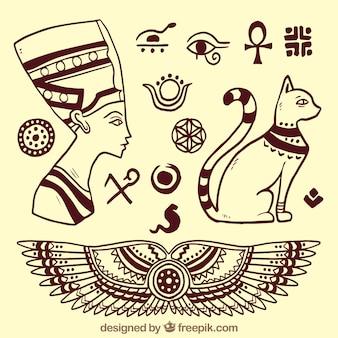 Elementos de dioses egipcios esbozados