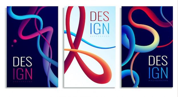 Elementos de diseño abstracto holográfico de neón fluido