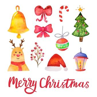 Elementos de diseño de acuarela vector feliz navidad. dibujado a mano vacaciones conjunto tradicional. ilustración vectorial