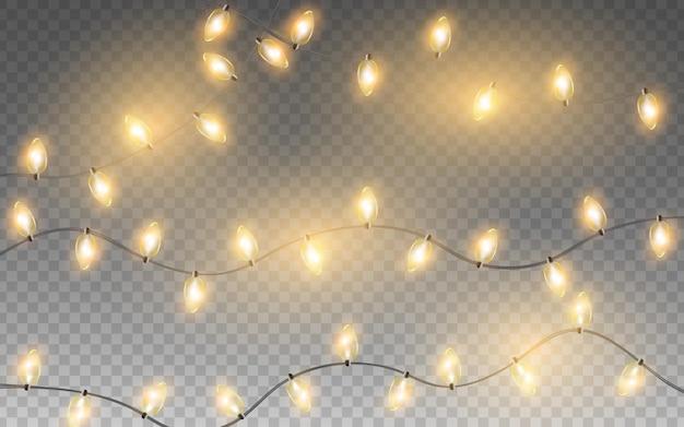 Elementos de diseño aislados de luces de navidad guirnaldas de vacaciones de año nuevo brillantes para cartel de banner de tarjeta
