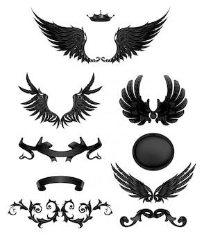 Elementos de diseño con alas negras, conjunto de iconos de vector