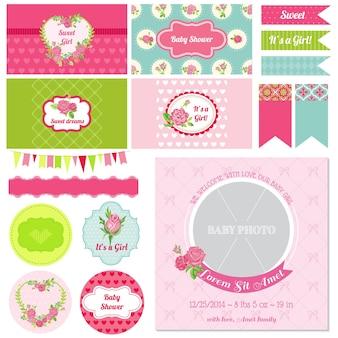 Elementos de diseño de álbum de recortes baby shower flower