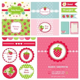 Elementos de diseño de álbum de recortes baby shower de fresa