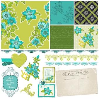 Elementos de diseño de álbum de recortes: flores azules