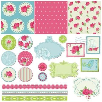 Elementos de diseño de álbum de recortes - flores color de rosa