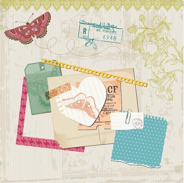 Elementos de diseño de álbum de recortes mariposas