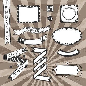 Elementos de diseño bricolaje de la vendimia. vector dibujo conjunto de marcos, cintas, insignia.