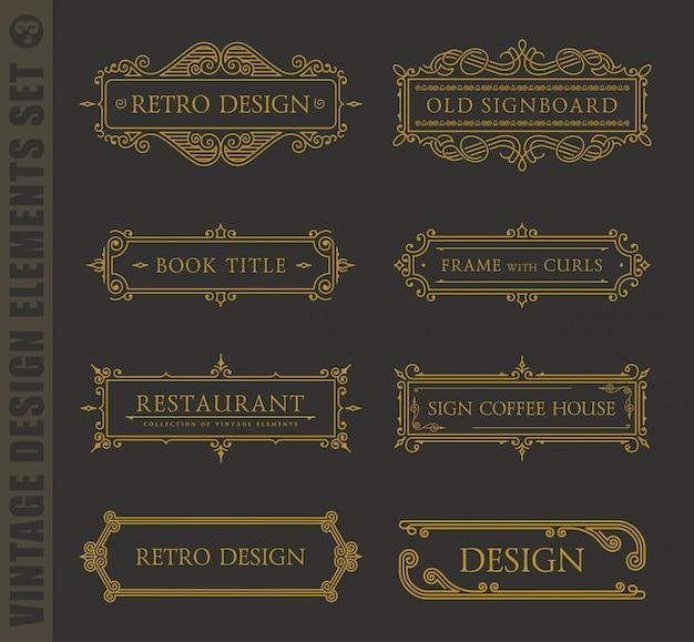 Elementos de diseño caligráfico. conjunto barroco vintage