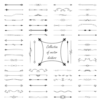 Elementos de diseño caligráfico. divisores, marcos de diferentes formas.