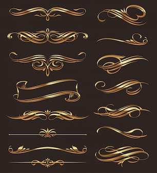 Elementos de diseño caligráfico dorado.