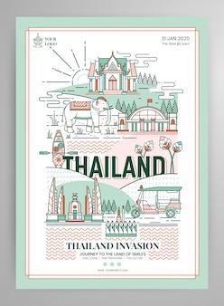 Elementos de diseño de cartel de tailandia