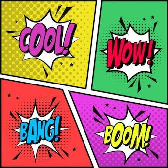 Elementos de diseño coloridos de cómic