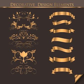 Elementos de diseño decorativo dorado