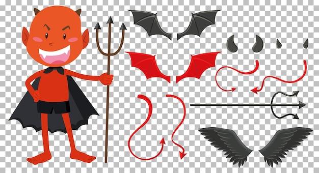 Elementos de diseño de diablo y ángel.