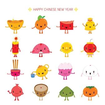 Elementos de diseño de dibujos animados lindo año nuevo chino, celebración tradicional, china