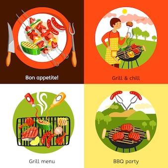 Elementos y diseño de elementos de fiesta de barbacoa.