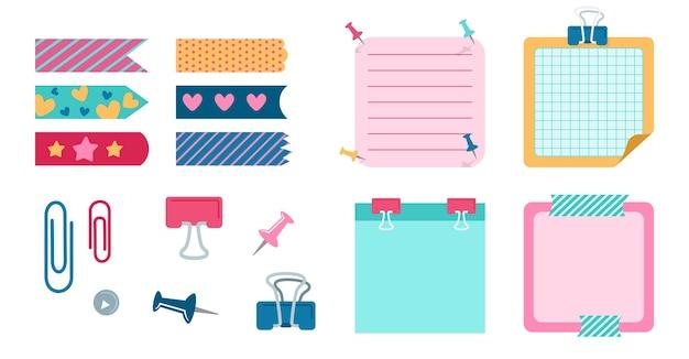 Elementos de diseño escolar para cuaderno, diario. papelería de planificación de elementos de oficina. cuaderno con clip, pinza para ropa, cinta adhesiva, colección de tiras. mensajes de nota de notas en blanco.
