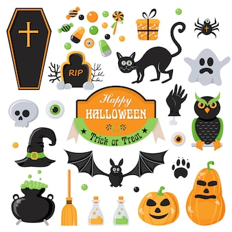 Elementos de diseño de feliz halloween.