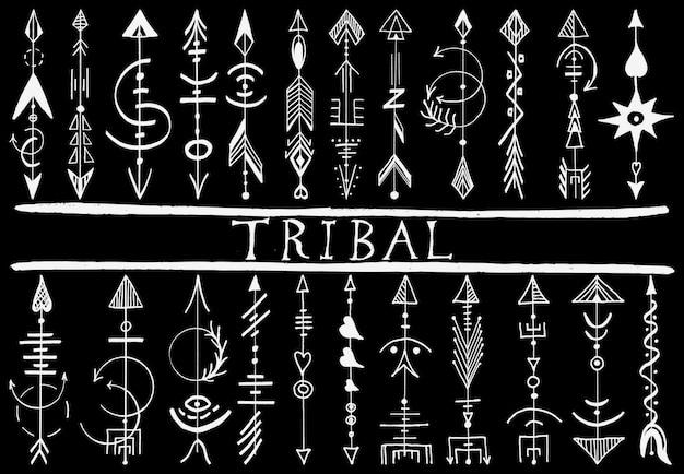 Elementos de diseño de flecha dibujados a mano tribales