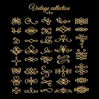 Elementos de diseño de florituras doradas caligráficas.