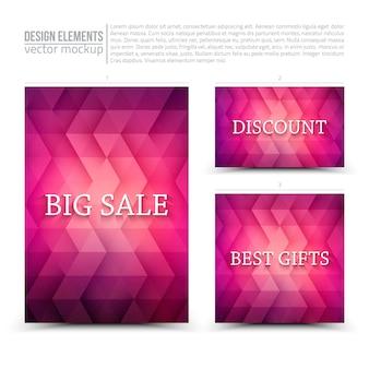 Elementos de diseño: flyer, tarjeta, banner morado.