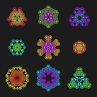Elementos de diseño futurista geométrico sagrado