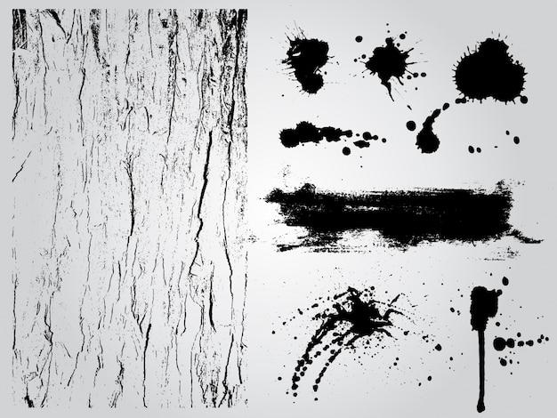Elementos de diseño de grunge en blanco y negro