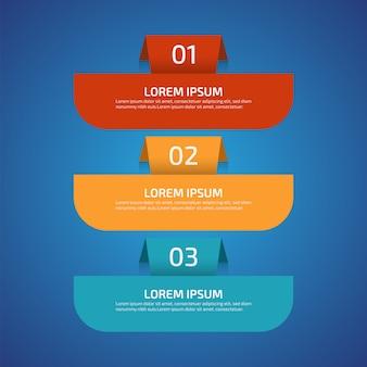 Elementos de diseño infográfico con 3 colores diferentes