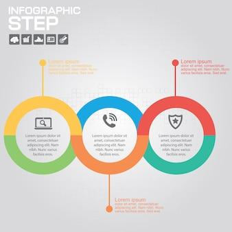 Elementos de diseño infográfico de 3 pasos