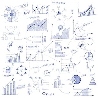 Elementos de diseño infográfico doodle
