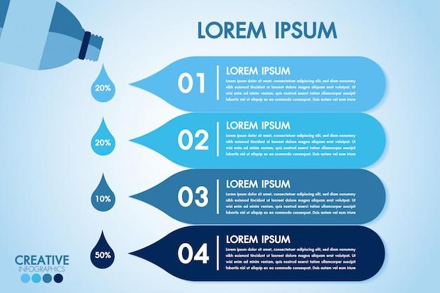 Los elementos de diseño de infographic eco water blue procesan 4 pasos u opciones de piezas con una botella de agua