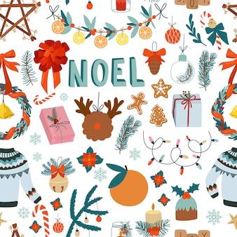 Elementos de diseño lindo de patrones sin fisuras de navidad sobre fondo blanco. juguetes de suéter de dibujos animados dulces y regalos decorativos navideños dibujados a mano estilo escandinavo.