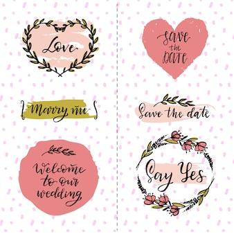 Elementos de diseño lindos de boda
