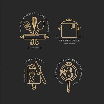 Elementos de diseño lineal de clase de cocina