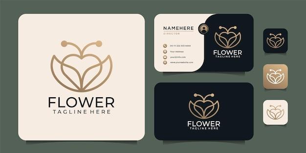 Elementos de diseño de logotipo de flor de amor de monograma de belleza minimalista con tarjeta de visita