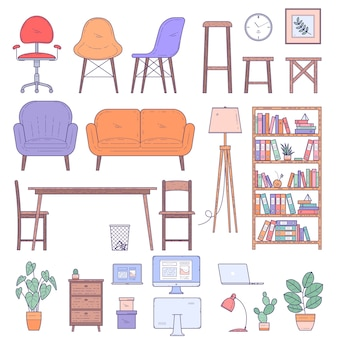 Elementos de diseño de muebles para el hogar y oficina y conjunto de vectores de iconos.