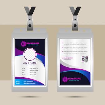 Elementos de diseño de negocios para el diseño gráfico de la tarjeta de identificación corporativa. plantilla de fondo abstracto moderno con degradado azul púrpura en formas de curva de onda en estilo minimalista. espacio circular para la foto.