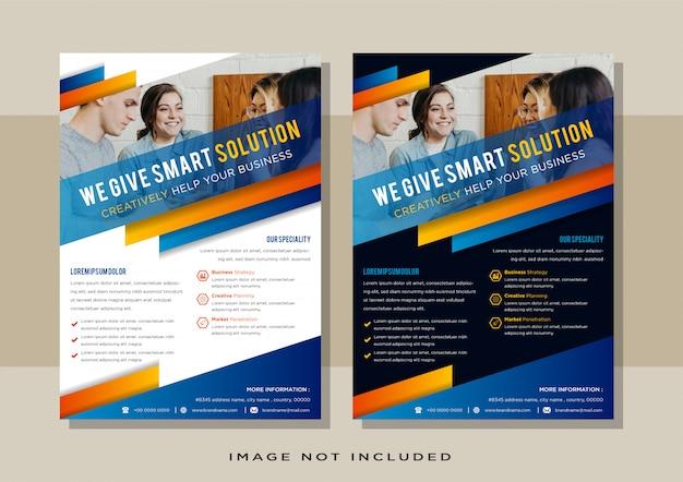 Elementos de diseño de negocios para el diseño gráfico de volante vertical. plantilla de fondo abstracto moderno con forma de color azul naranja degradado, formas geométricas diagonales en estilo minimalista limpio.
