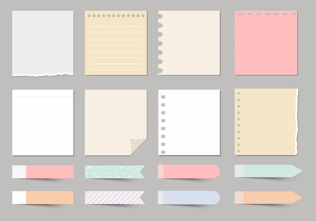 Elementos de diseño para notebook, diario, stickers y otra plantilla.