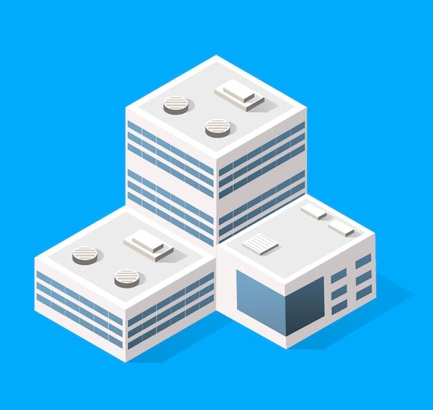 Elementos de diseño de paisaje urbano con edificio isométrico