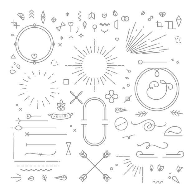 Elementos de diseño plano gris