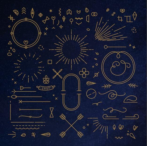 Elementos de diseño plano oro